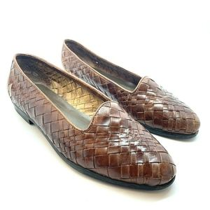 Vtg GH Bass Brown Renata Woven Leather Loafers 7